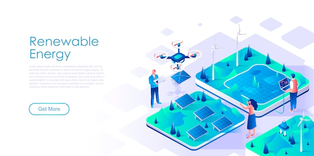 Renewable energy isometric landing page template