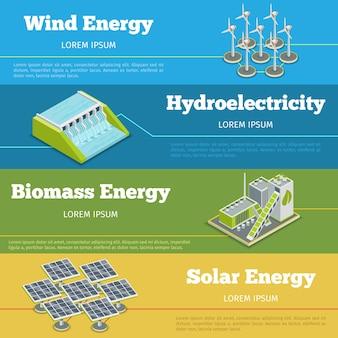 再生可能エネルギーまたはエコエネルギーのインフォグラフィックの概念。