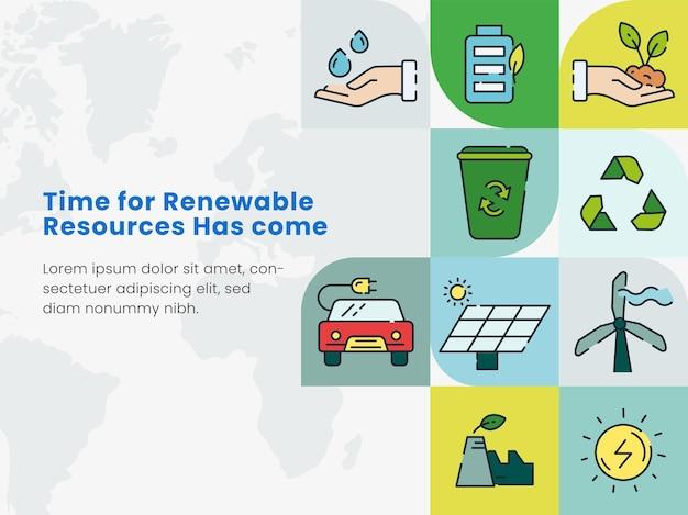 意識のための再生可能エネルギー資源の概念ベースのポスターデザイン。