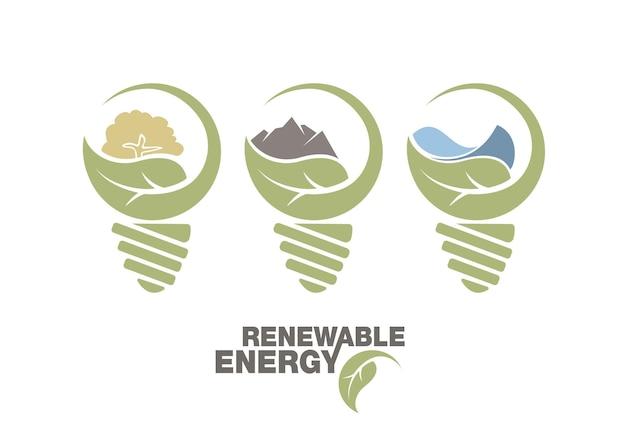 地球の再生可能エネルギー セットを電球に入れます。