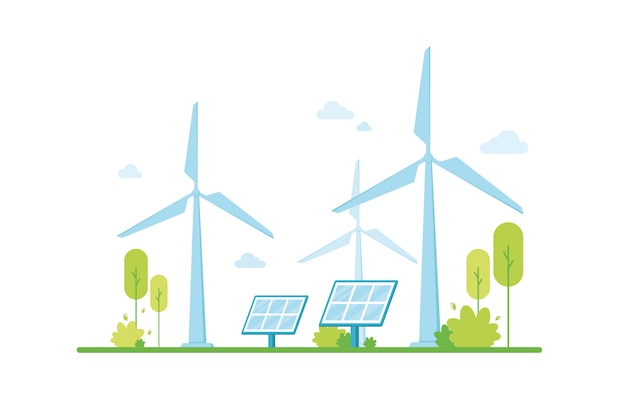Renewable energy, solar panels. сlean electric energy from renewable sources wind. eco friendly. green zone. protecting and caring for nature. climate support