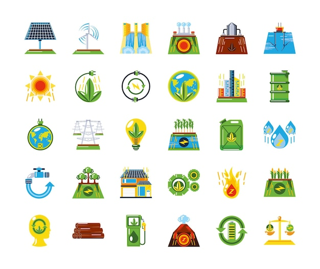 신 재생 에너지 원 깨끗하고 지속 가능한 개발 아이콘 그림
