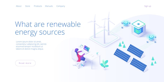 Renewable energy sources concept in isometric landing page