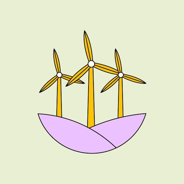 풍력 터빈 일러스트와 함께 재생 에너지 스티커 벡터