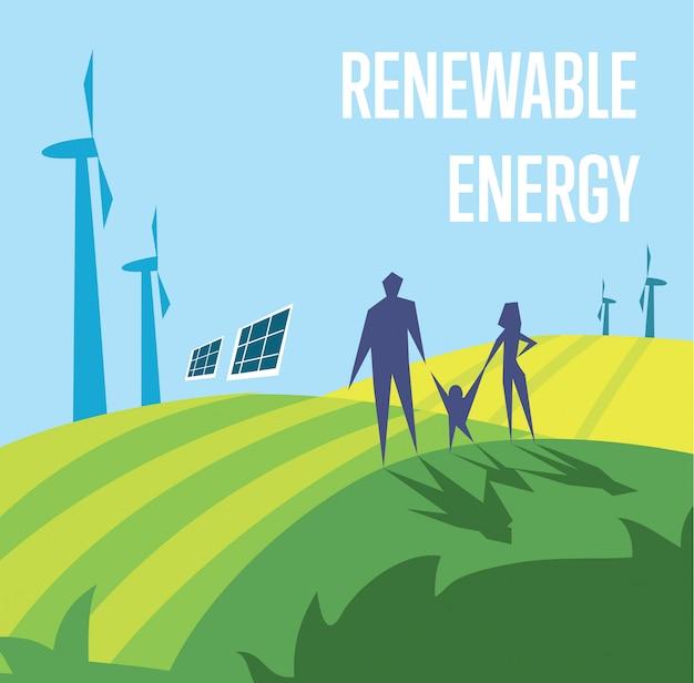 再生可能エネルギー。太陽と風力発電