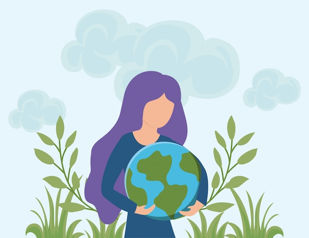 再生可能エネルギー、地球を持つ女性