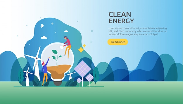 Renewable green electric energy sources and clean environmental concept