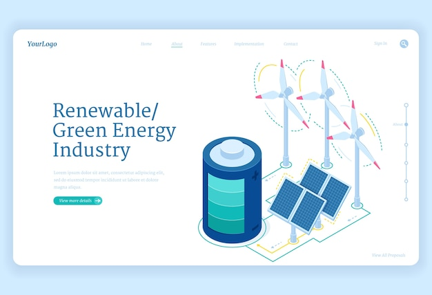 Renewable green energy industry isometric landing page. sustainable development concept with windmill turbines, solar panels and battery, environment protection, conservation 3d web banner