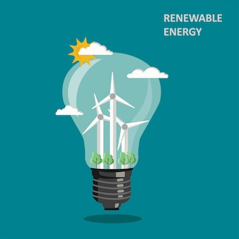 Renewable wind energy illustration