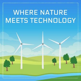 Renewables innovation social media post mockup. nature meets technology phrase. web banner design template. wind farm booster, content layout with inscription. poster, print ads and flat illustration