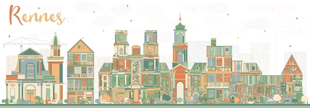 Rennes france city skyline with color buildings. vector illustration. business travel and tourism concept with historic architecture. rennes cityscape with landmarks.