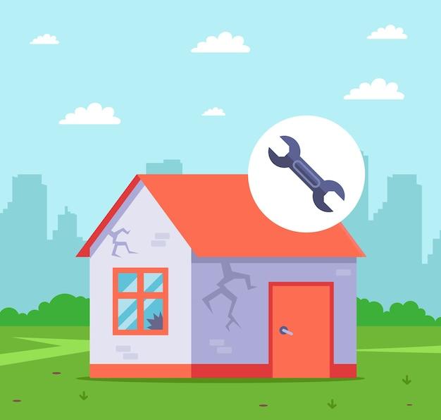 再販のために古い家を改築します。フラットなイラスト。
