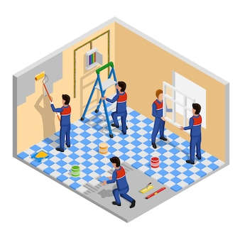 Renovation isometric composition
