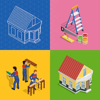 Renovation isometric concept icons set