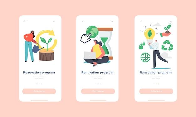 Renovation program mobile app page onboard screen template. characters use gadgets, planting trees, ecology protection