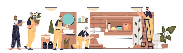 Renovation and repair in bathroom: team of repairmen and designer working on new bath interior installing lamps, repairing sink and laying tiles. handyman service concept. flat vector illustration