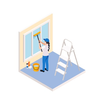 Renovation repair works isometric composition with character of female worker cleaning the window