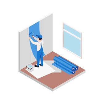 리노베이션 수리 작업은 파란색으로 벽을 칠하는 작업자의 캐릭터를 사용하여 아이소메트릭 구성을 작동합니다.