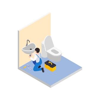 리노베이션 수리는 욕실에 도구 상자가 있는 작업자의 캐릭터와 함께 아이소메트릭 구성을 작동합니다.