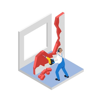 Renovation repair works isometric composition with character of worker breaking old wall