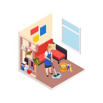 리노베이션 수리는 집 거실 인테리어와 가정부 캐릭터를 사용한 아이소메트릭 구성을 작동합니다.