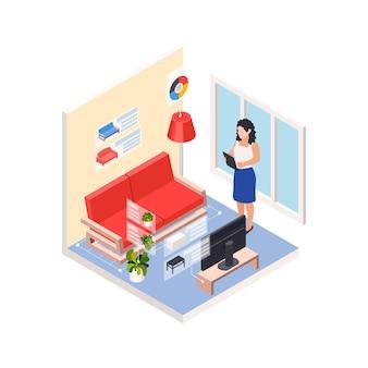 リフォーム修理は、リビングルームの風景と女性が新しい家具を選択する等角投影を行います Premiumベクター