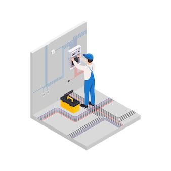 Composizione isometrica di lavori di riparazione di ristrutturazione con carattere maschile di elettricista che installa nuovi cablaggi