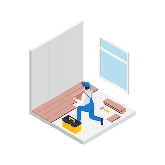 Renovation repair works isometric composition with male character of handyman doing floor tiling
