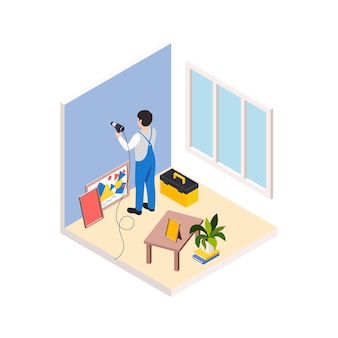 리노베이션 수리는 그림을 위해 벽에 구멍을 뚫는 남자와 아이소메트릭 구성을 작동합니다.