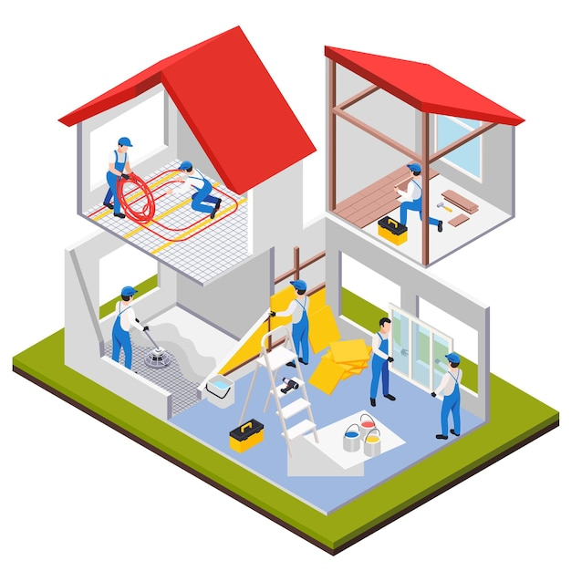 Ремонтно-восстановительные работы изометрической композиции с видом на комнаты дома, находящиеся под тяжелым ремонтом, с иллюстрацией человеческих персонажей