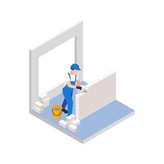 리노베이션 수리는 작업자가 새 벽을 위한 벽돌을 깔고 있는 아이소메트릭 구성을 작동합니다.