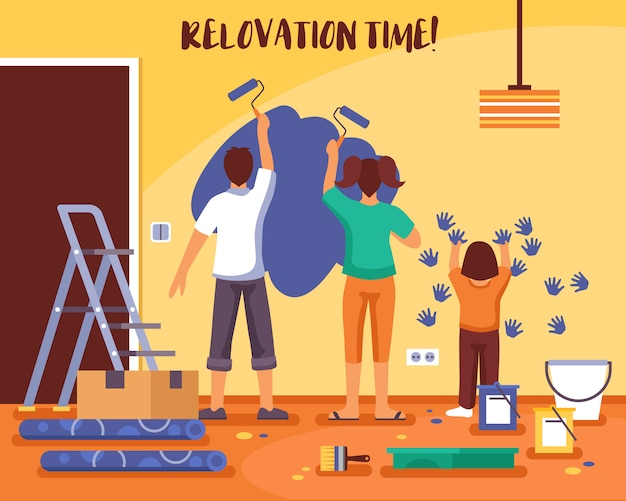 Renovation time flat vector illustration