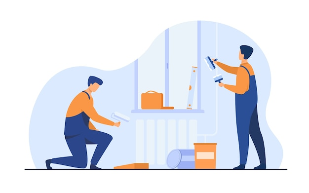 Renovation workers repairing apartment. repairmen in overalls decorating and painting walls. vector illustration for excursion, people and culture concept