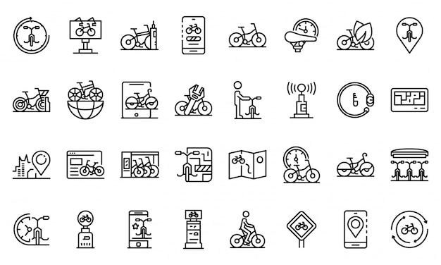 Прокат велосипедов набор иконок, стиль контура