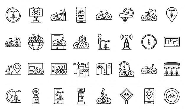 Rent a bike icons set, outline style