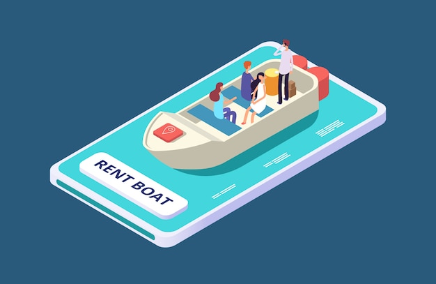 Rent a boat mobile app isometric  concept
