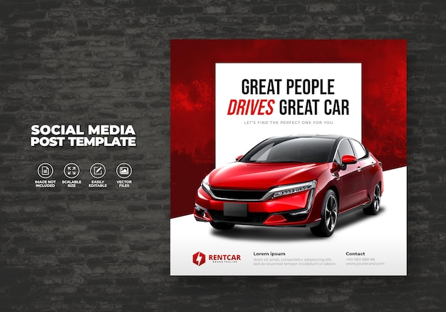 Rent and buy car for elegant exclusive social media post elegant banner vector template