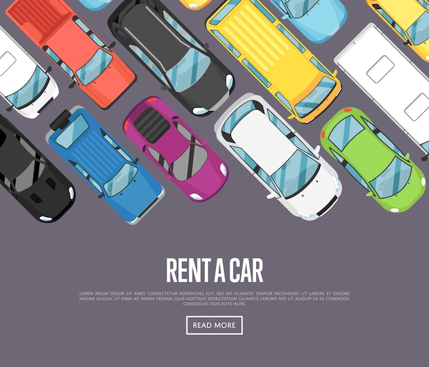 Rent a car banner with modern city cars