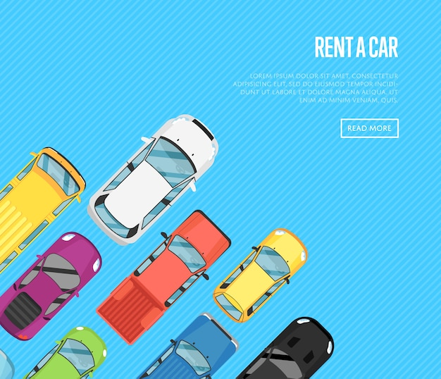 Rent a car banner with top view city cars