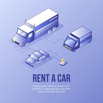 Rent a car. digital isometric design concept