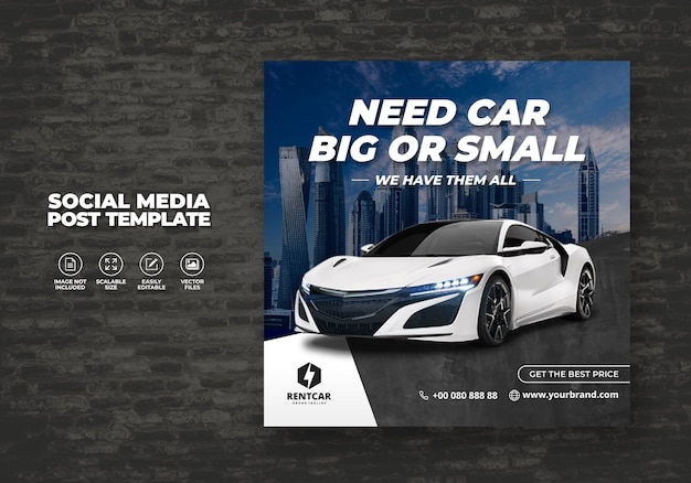 ソーシャルメディアポストバナーモダンテンプレートのレンタカー