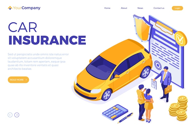 Rent car isometric for landing, advertising with car