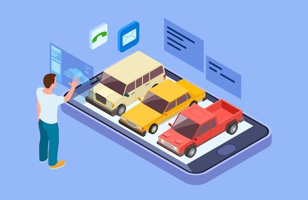 Rent car online. isometric buy car with online phone app. man chooses a vehicle vector concept