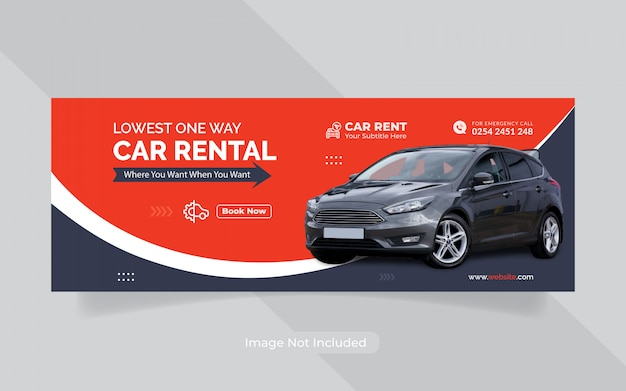Rent car for social media banner template