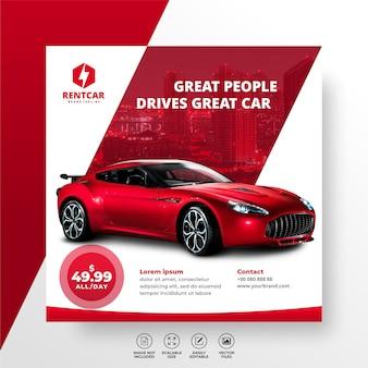 Rent car for social media instagram post banner template luxury