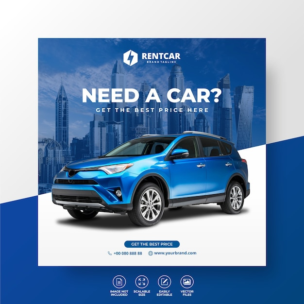 Rent car for social media post banner template luxury