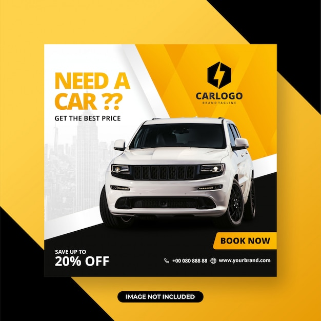 Rent car for social media post banner template