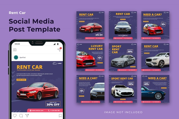 Rent car social media post template bundle
