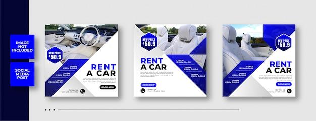 Rent car social media square banner template