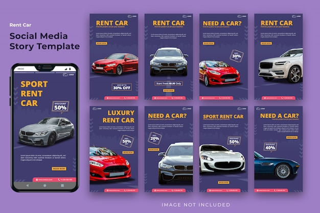 Rent car social media story template bundle